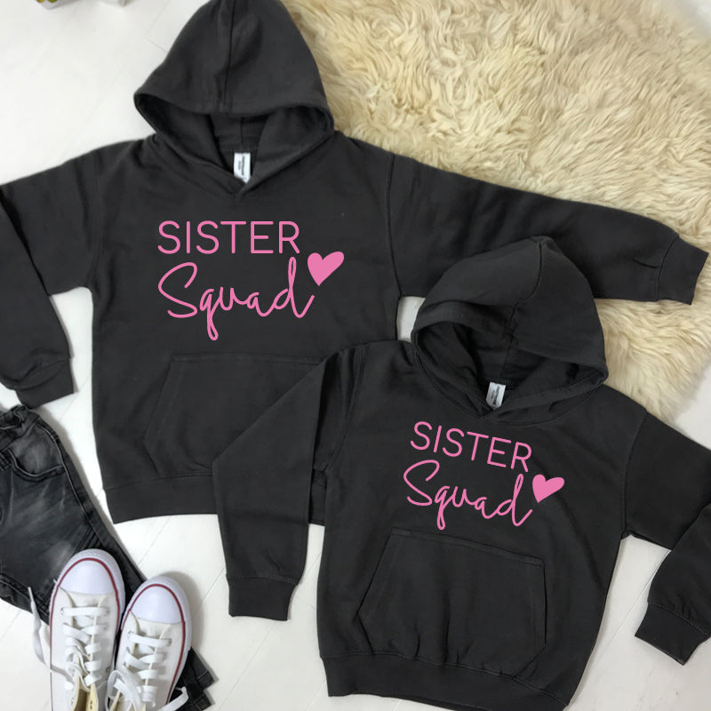 Sister Squad Heart Hoodies Storm Grey (1-13 Years) (MRK X)