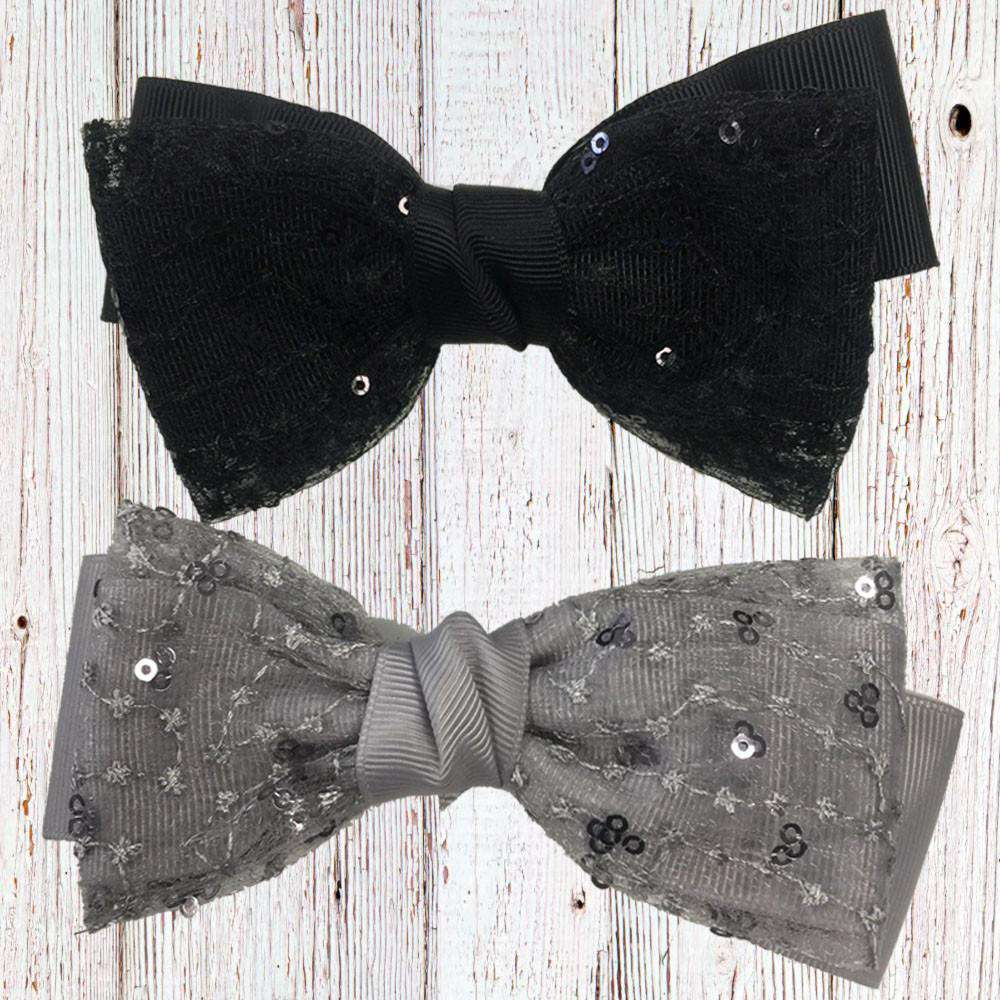 Black/Grey Sequin Bow (12x6cm) (MRK X)