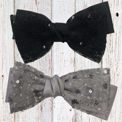 Black/Grey Sequin Bow (12x6cm)
