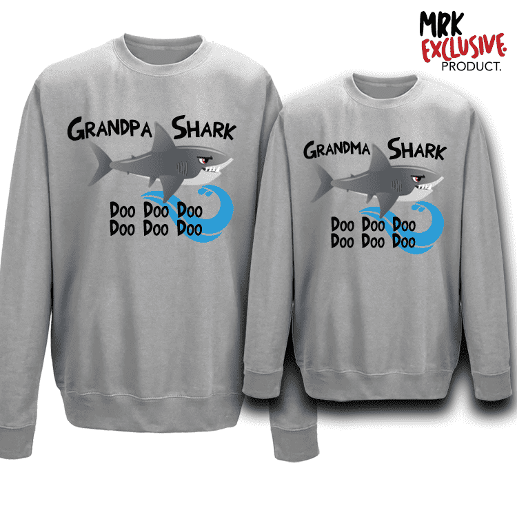 Grandma and Grandpa Shark Matching Crew Sweats (MRK X)