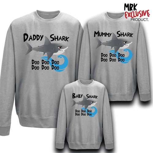 Shark Family Matching Crew Sweats - Grey (MRK X)