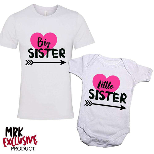 Big Sister/Little Sister Matching Heart White Tee & Bodysuit Set (MRK X)