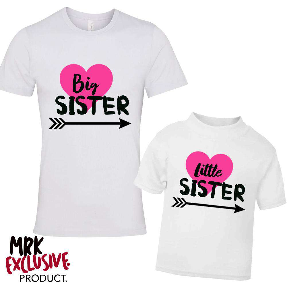 Big Sister/Little Sister Matching Heart White Tee's (MRK X)