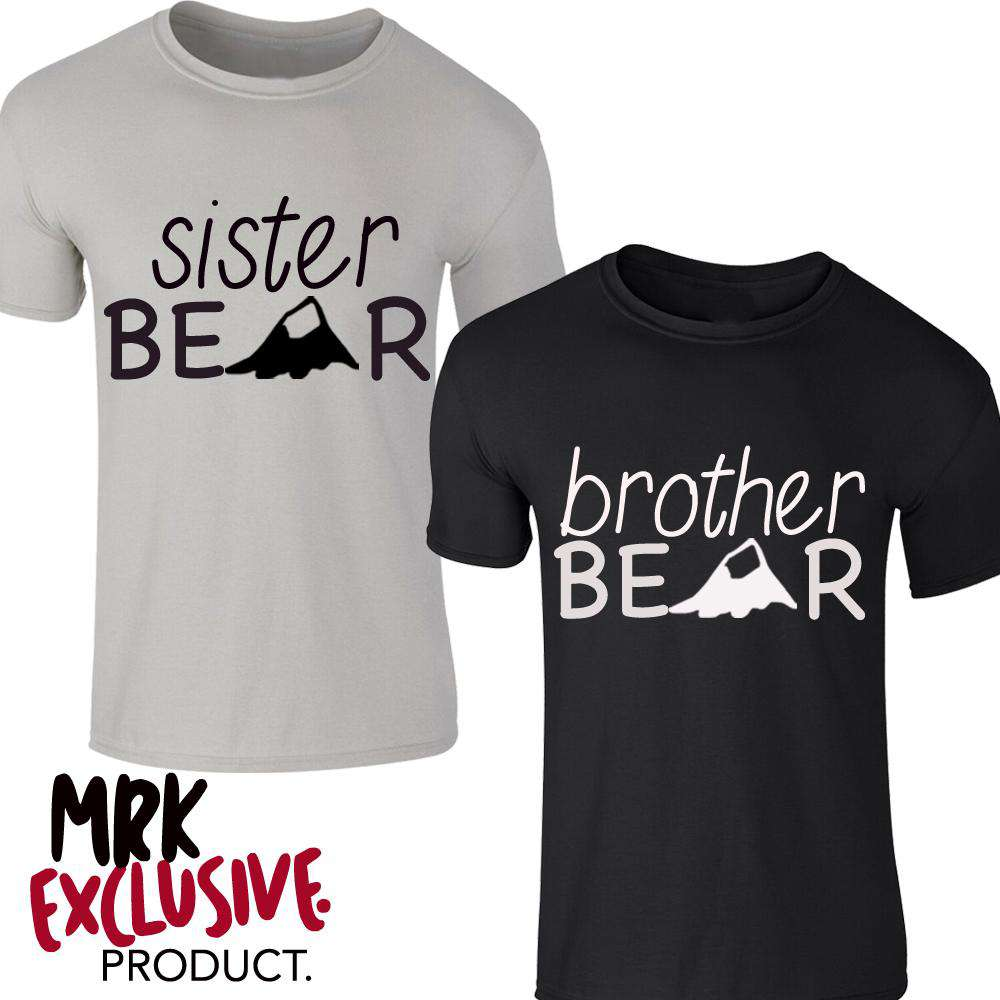 Brother/Sister Bear Grey/Black Matching Tees (MRK X)