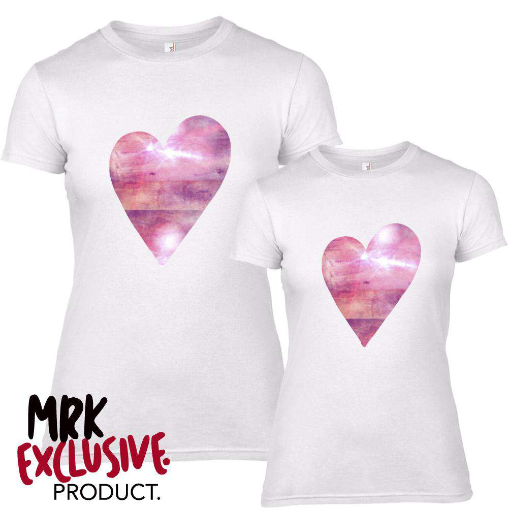 Sister/Bestie Matching Pink/Purple Shiny Heart Tees (MRK X)