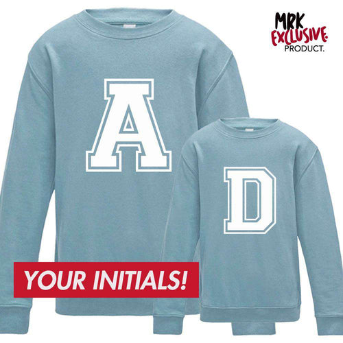 Personalised Adult & Kid Initial Matching Sky Blue Sweaters (MRK X)