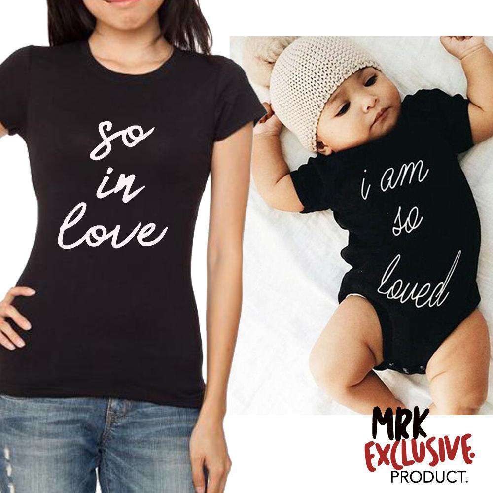 So Loved/In Love Mum & Baby Matching Black Tee & Bodysuits (MRK X)