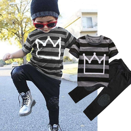 Striped Crown Tee & Faux Leather Pant Set (1-6 Years)