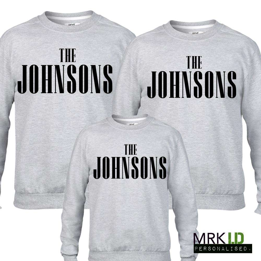 Personalised Family Name Matching Grey Sweaters 01 (MRK X)