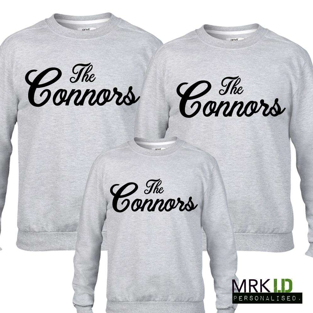 Personalised Family Name Matching Grey Sweaters (MRK X)