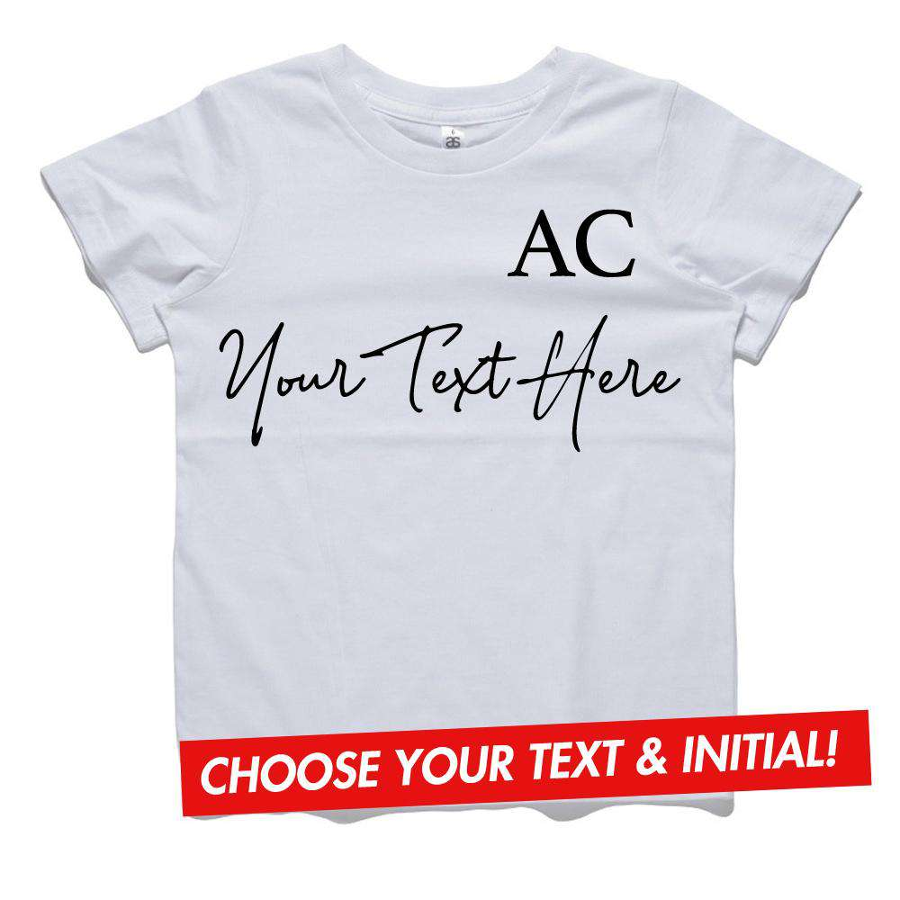 Personalised DYO Script Text & Initial Kids & Adults Tee (MRK X)
