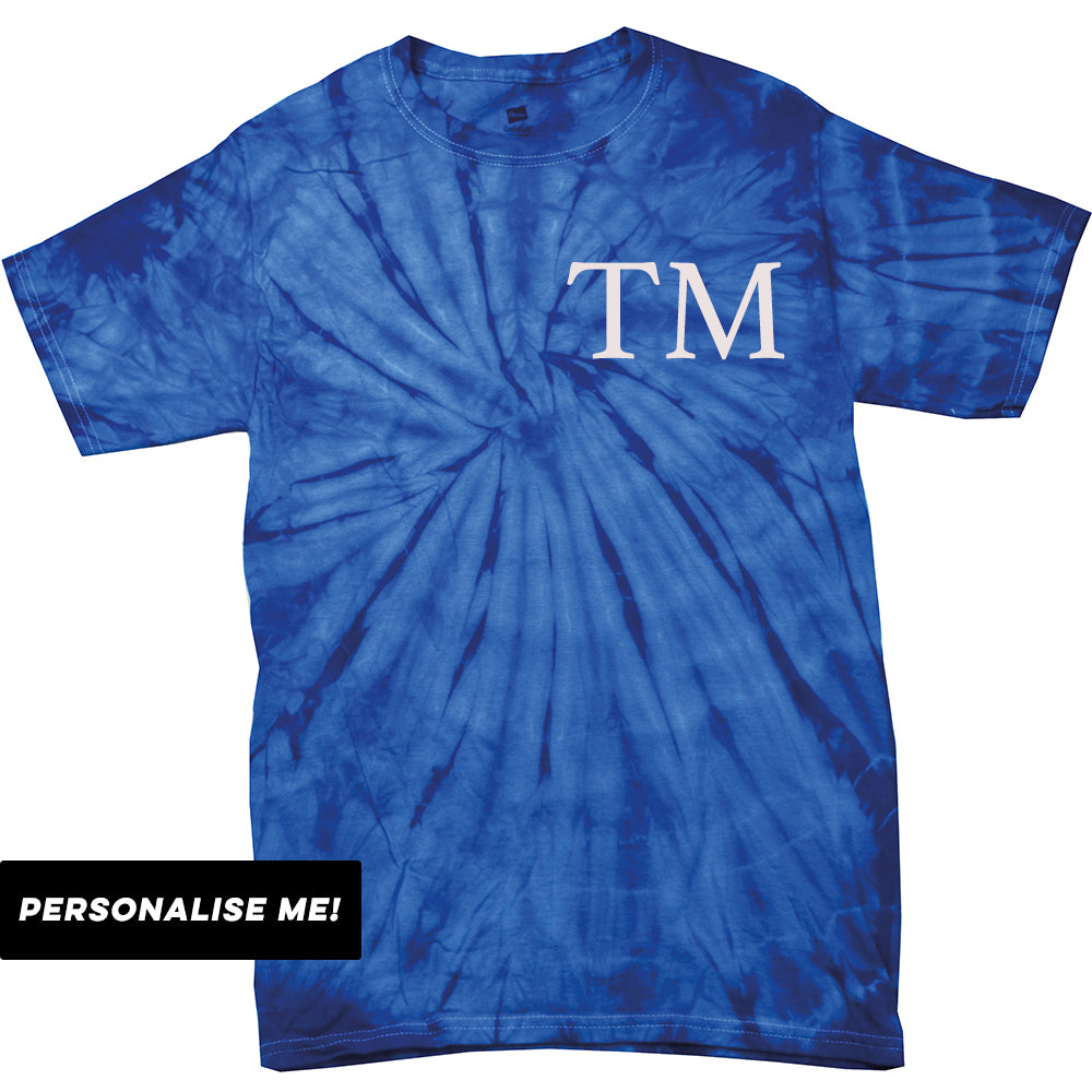 Personalised Kids Initial Block Colour Tie Dye T-Shirt (MRK X)