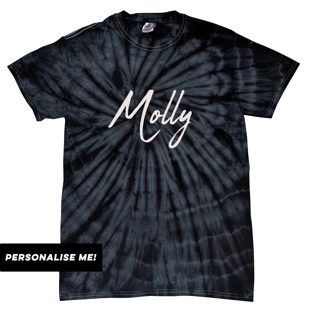Personalised Kids Name Block Colour Tie Dye T-Shirt (MRK X)