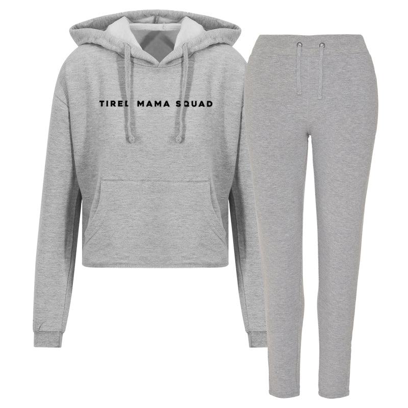 Tired Mama Squad Cropped Hoodie & Tapered Jogger Lounge Set (MRK X)