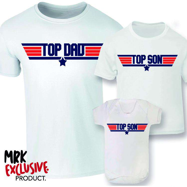 Top Dad and Son Matching T-Shirt/Baby Vest - White (MRK X)