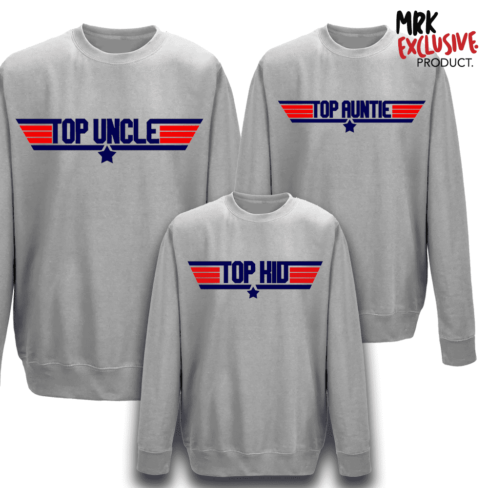Top Uncle, Auntie and Kid Crew Sweaters (MRK X)