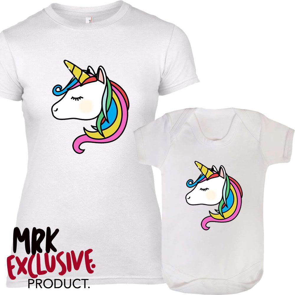The Unicorn Mummy & ME Matching White Tee & Bodysuit (MRK X)