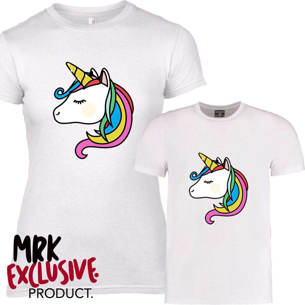 The Unicorn Mummy & ME Matching White Tees (MRK X)