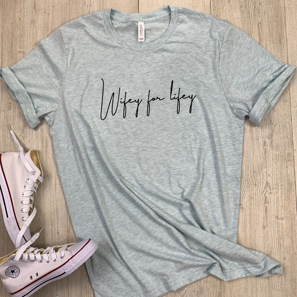 Wifey For Lifey Script Heather Tee (MRK X)