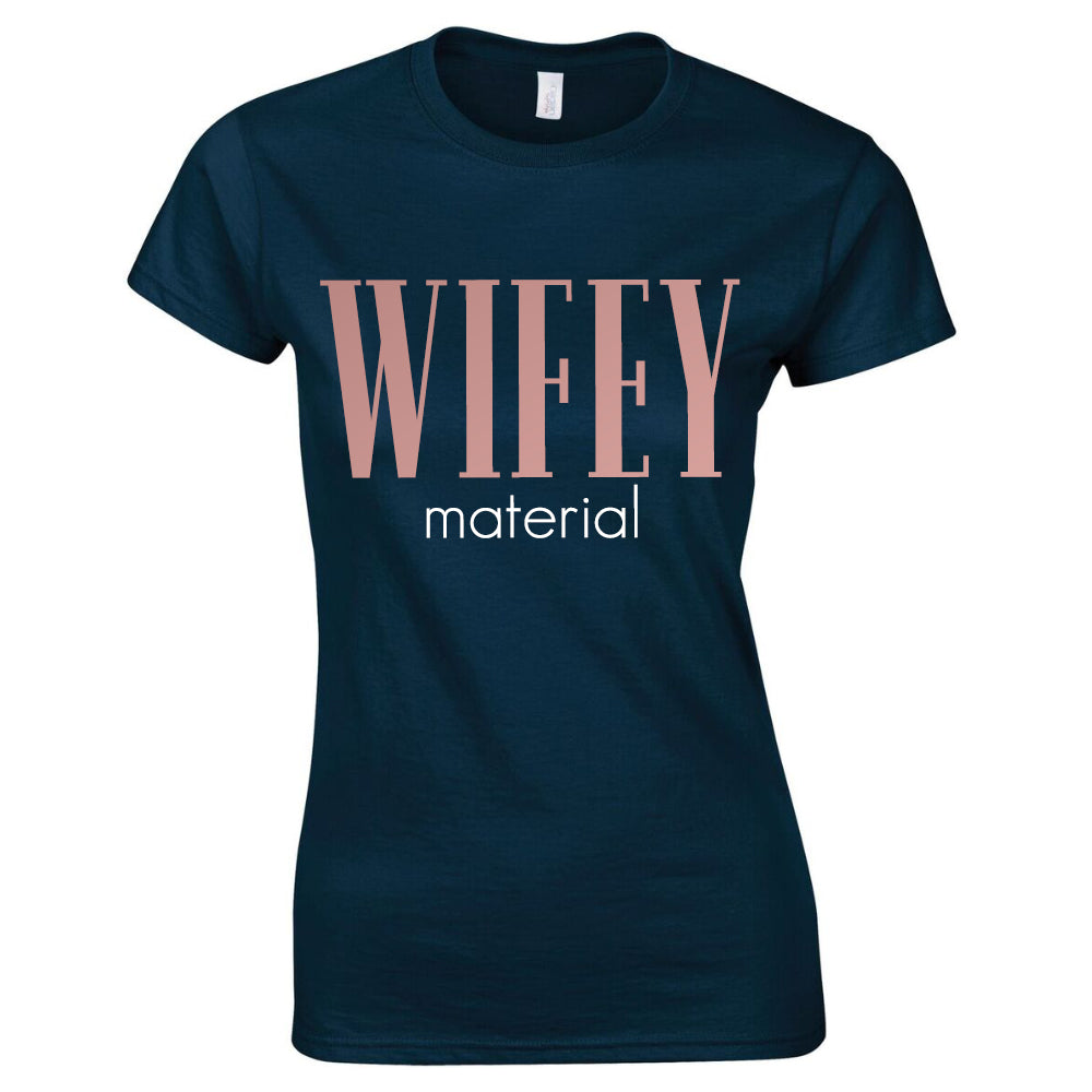 Wifey Material Steel Grey/Rose Gold Tee (MRK X)