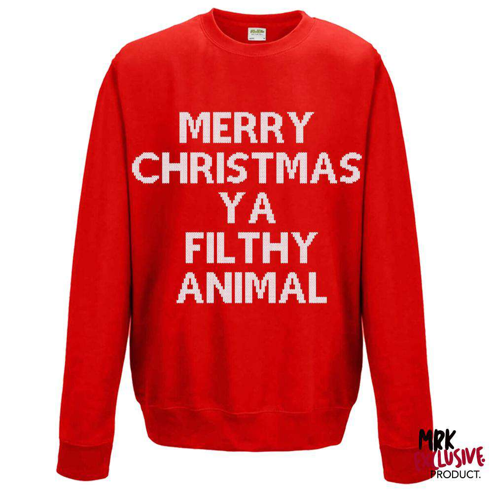 Merry Christmas (Filthy Animal) Red Adult Sweater (MRK X)