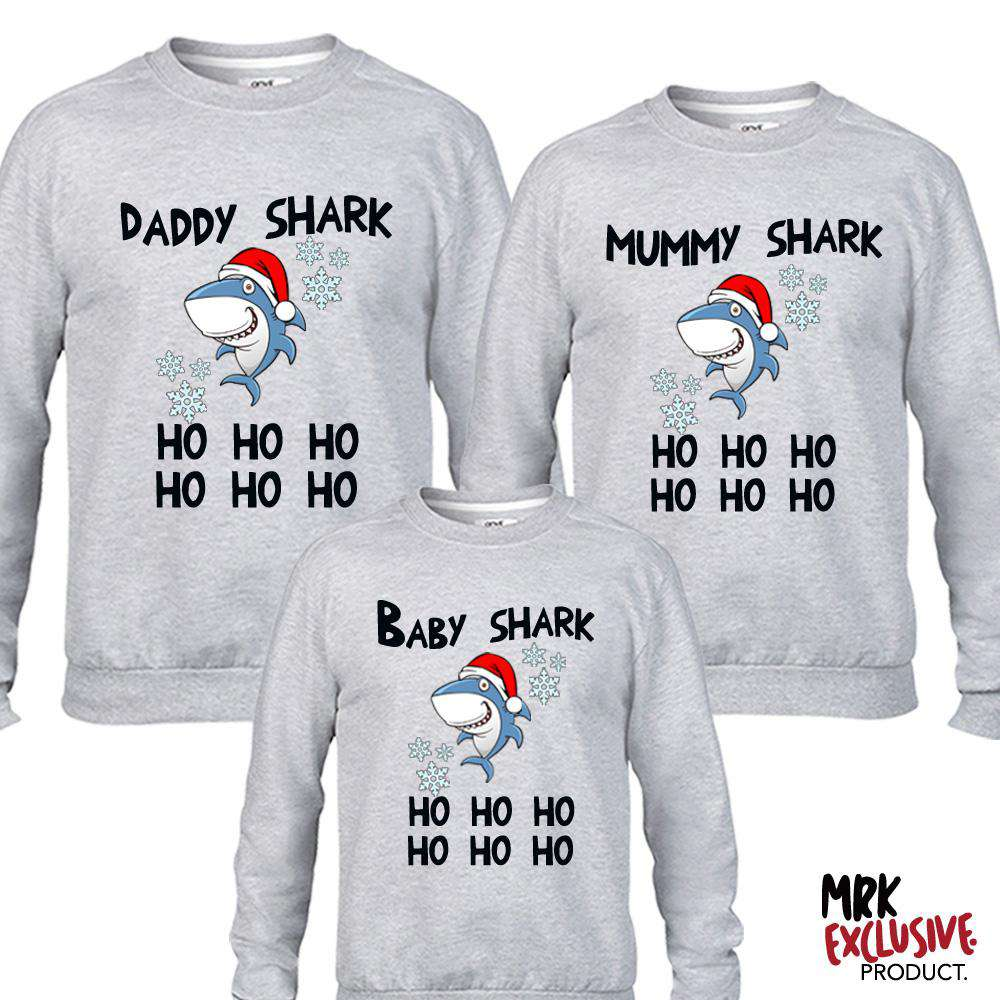 Christmas Shark Family Matching Grey Sweaters (MRK X)
