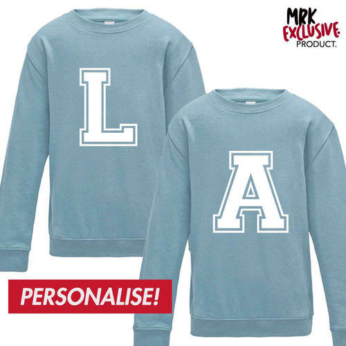 Personalised Kids Initial Matching Sky Blue Sweaters (MRK X)