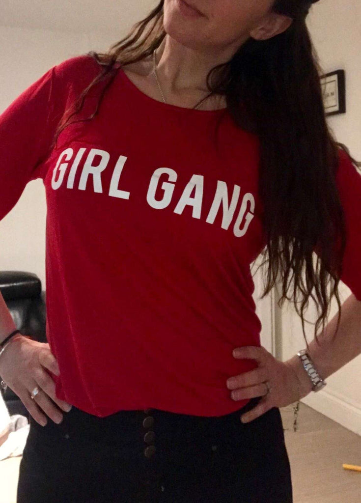 GIRL GANG BLOCK Red Crew Matching Tees (MRK X)