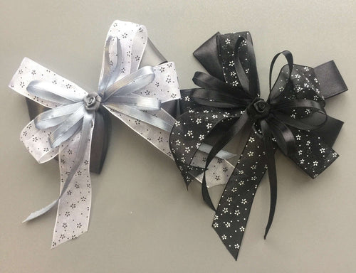 Black/Grey Floral Fancy Bow