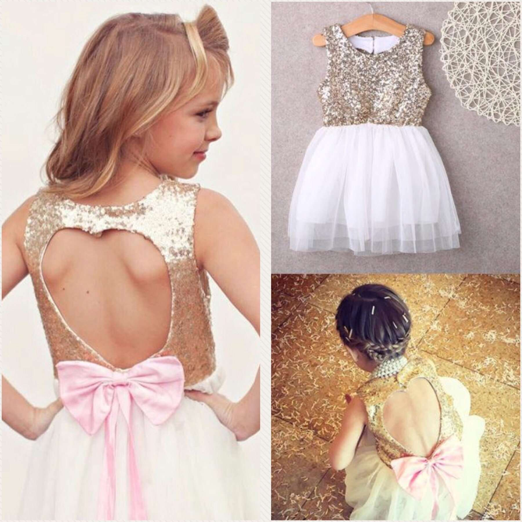 Bow Heart Hollow Back Gown (1-7 Years)