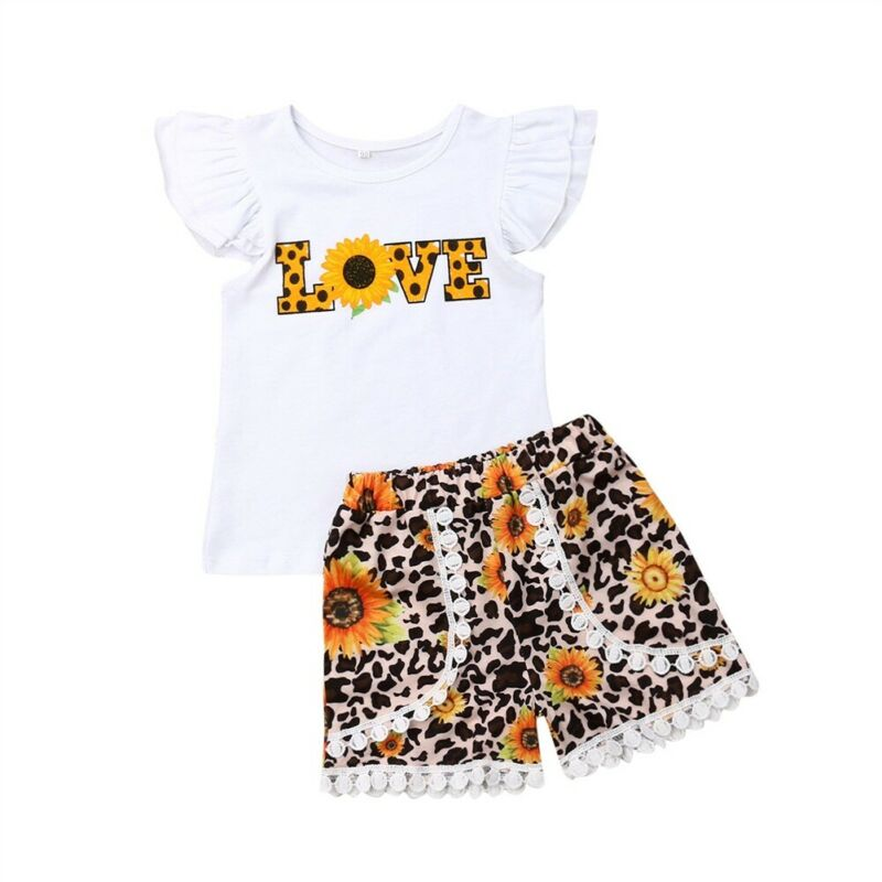 Sunflower Love Fly-Sleeve Top & Short Set (1-7 Years) (MRK X)