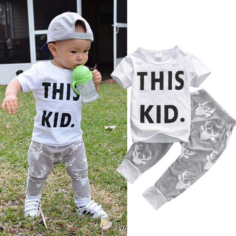 THIS KID White T-Shirt and Deer Pant Set (0-5 Years)