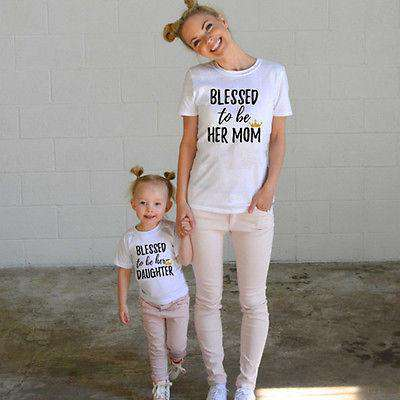 BLESSED.  Mummy & ME Matching Tee Set White - (MRK X)