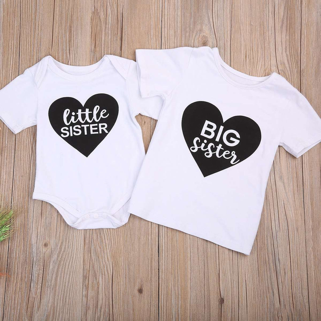 Little Sis/Big Sis Heart White Tee/Romper Set (MRK X)