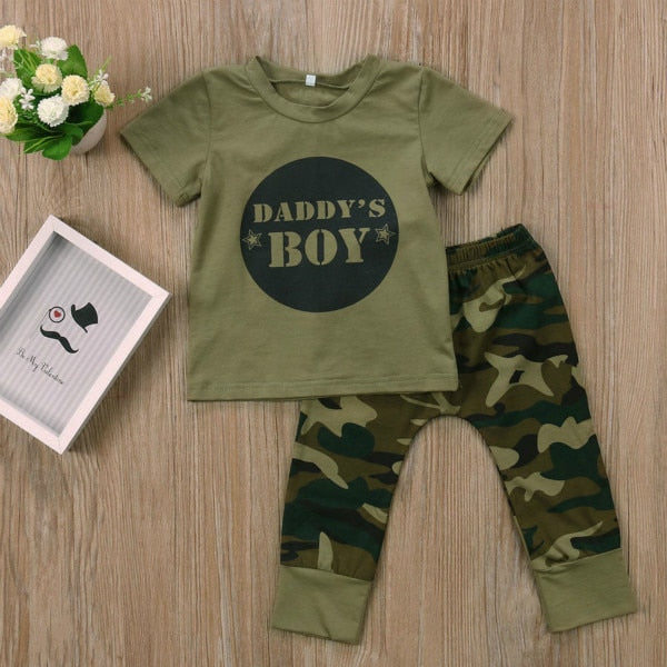 Green Camo Daddys Boy/Girl Tee & Pant Set (3-24 Months)