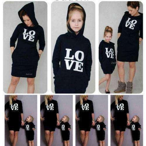 Mummy & ME Matching Oversize LOVE! Black Hoodies (MRK X)