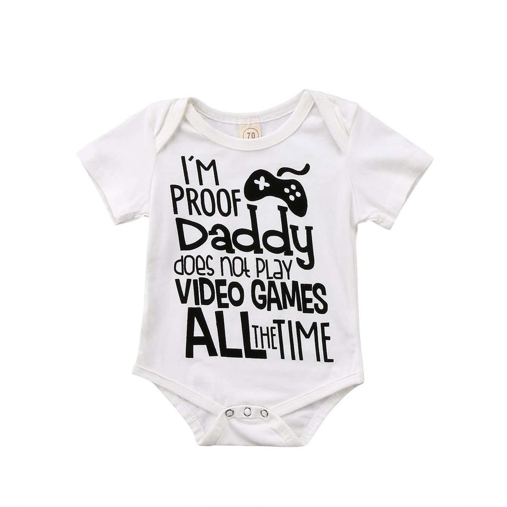 Daddy Video Games White Bodysuit (0-24 Months) (MRK X)