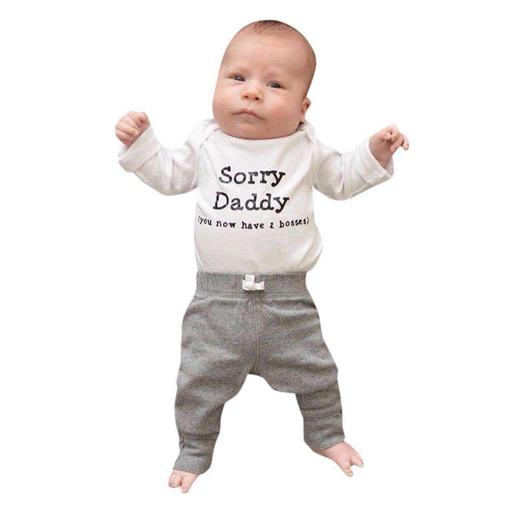 Sorry Daddy Long-Sleeved Bodysuit/Tees & Grey Jogger Sets (MRK X)