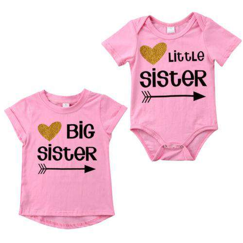 Big Sis/Little Sis Pink Arrow Matching Light Pink Tee & Bodysuits (MRK X)