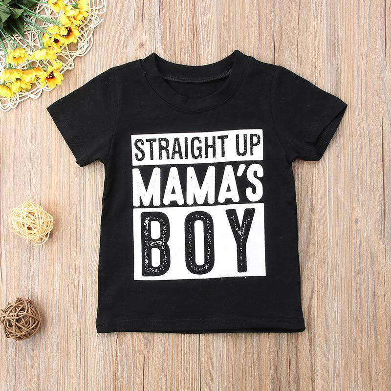 Straight Up Mama's Boy Black Tee - (MRK X)