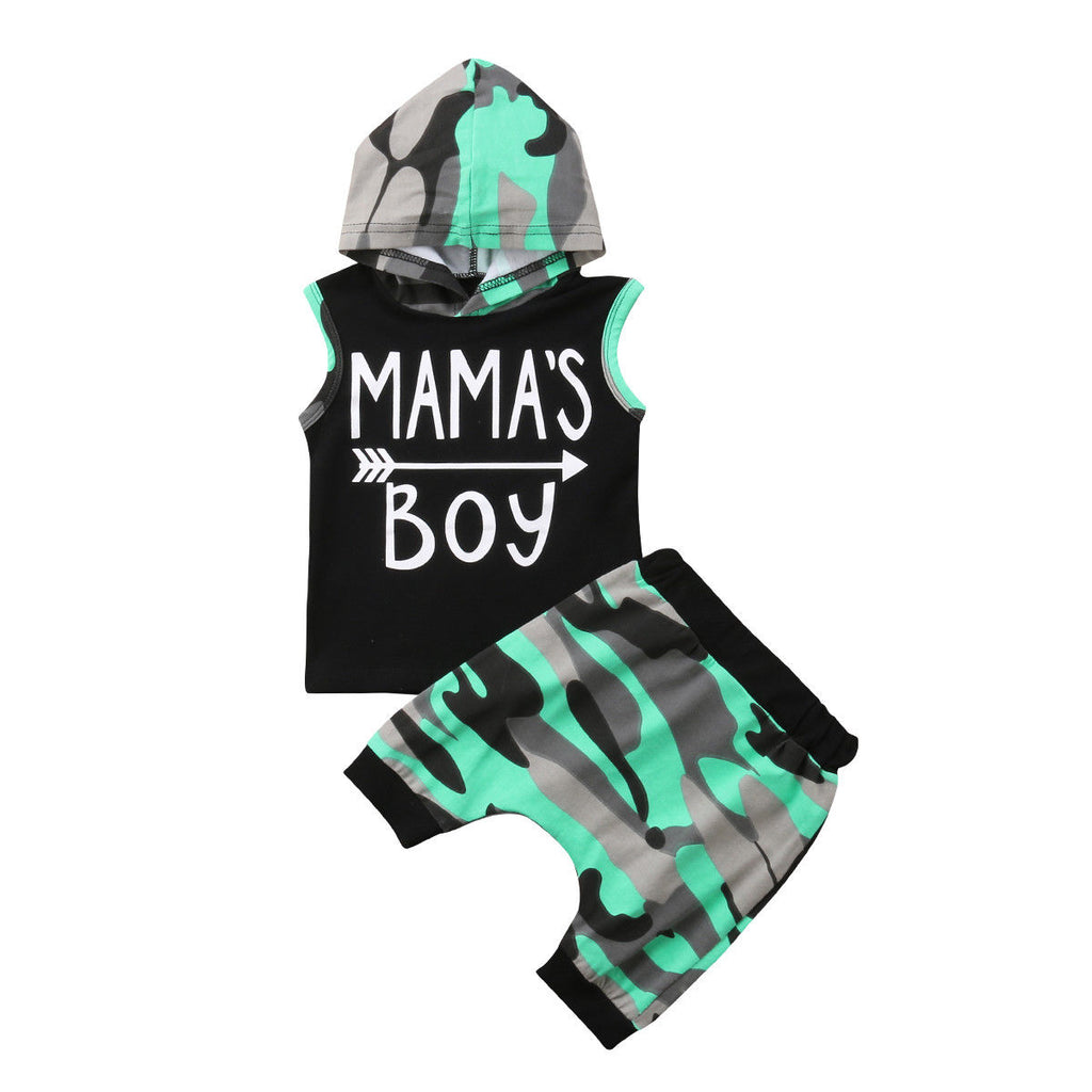Mama's Boy Neon Camo Sleeveless Hood Set (MRK X)