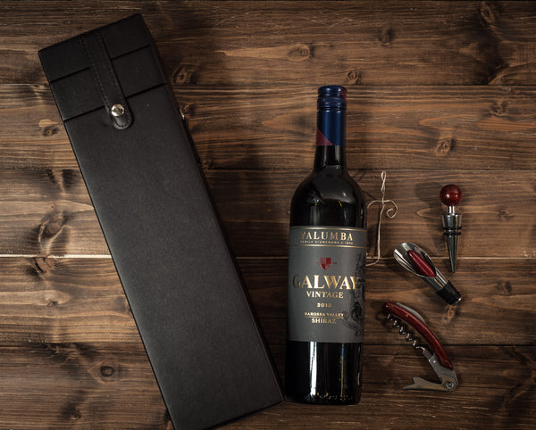 Galway Vintage Shiraz 75cl with Leather Box with and Accessories