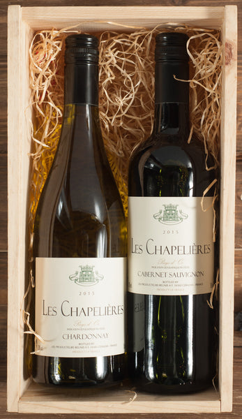 French Wine 2 Bottle Gift Set in a Wooden Box