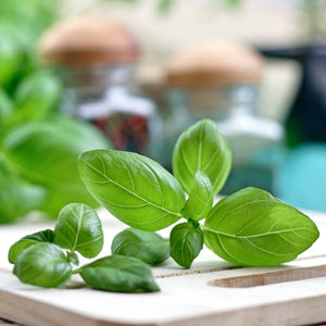sweet basil on chopping board