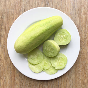 Plated and sliced salt and pepper cucumber