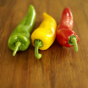 Italian Roaster Peppers | Tri colored peppers on a table