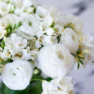 White Clouds Freesia & Ranunculus Blend Bouquet