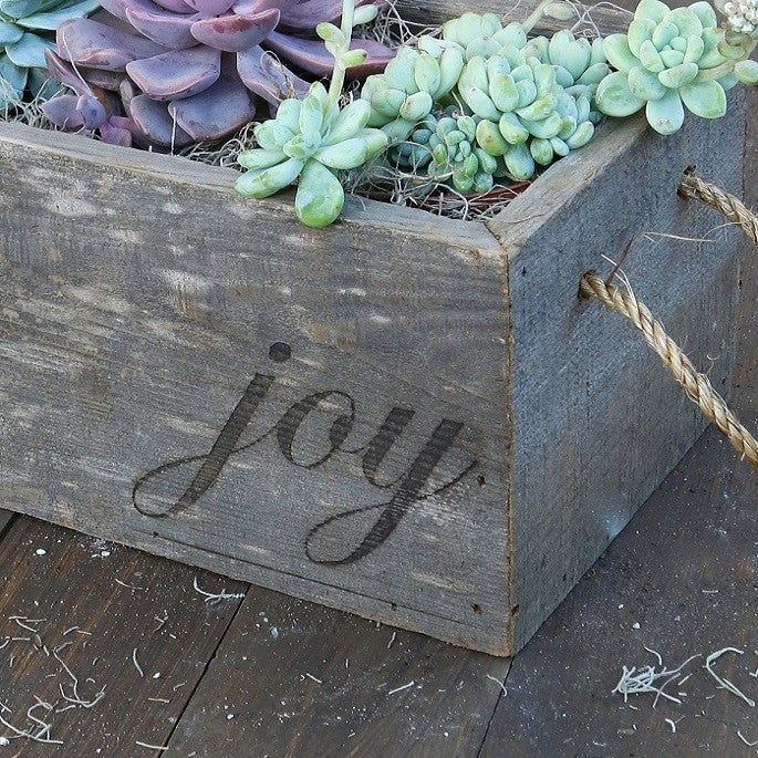 "Reclaimed Wood Planter with ""Joy"""