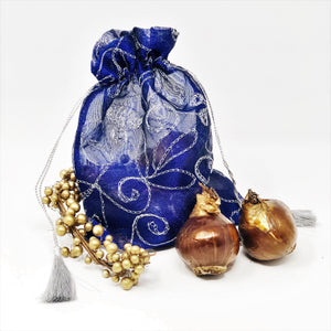 Paperwhite Gift: (5 Bulbs) in an Embroidered Cobalt Bag