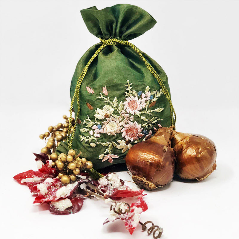 Paperwhite Gift: (5 Bulbs) in an Embroidered Olive Bag - FREE SHIPPING!